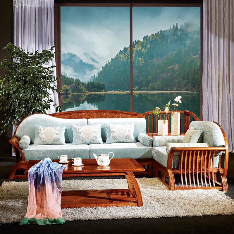 刺猬紫檀新中式红木沙发四件套