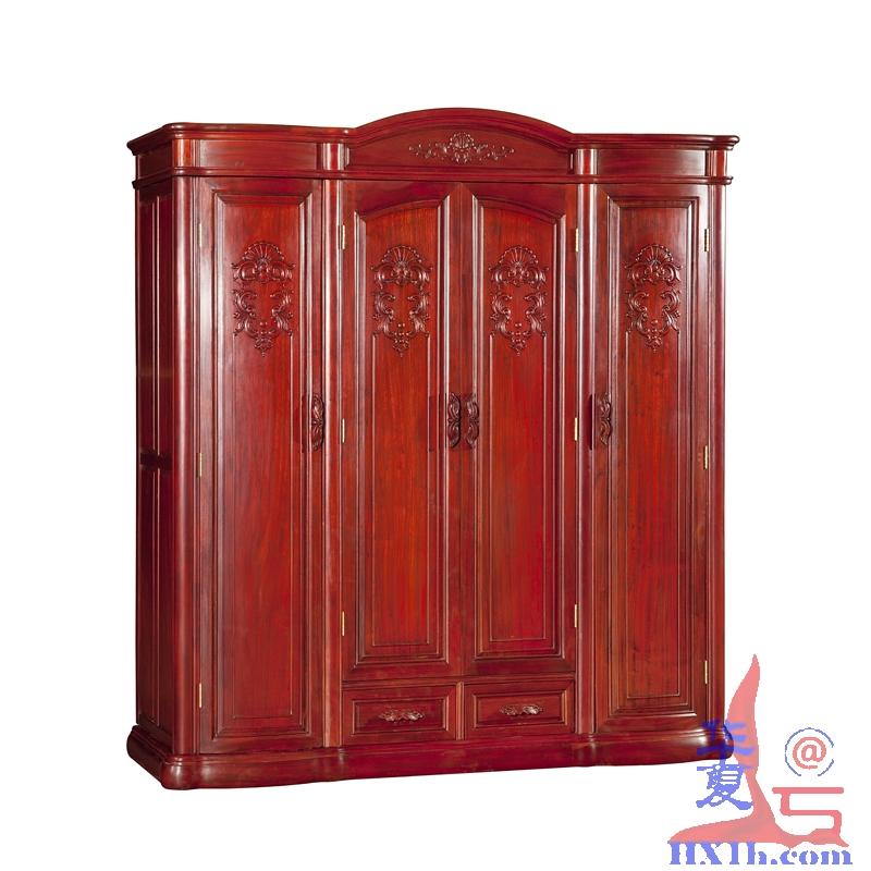 实木衣柜 红木家具 榫卯结构非洲红花梨木园门衣柜