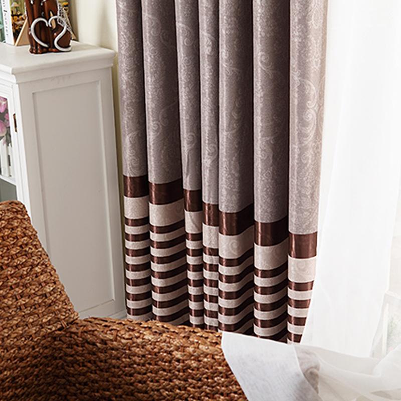 欧式遮光布客厅高档成品窗帘——咖色条纹